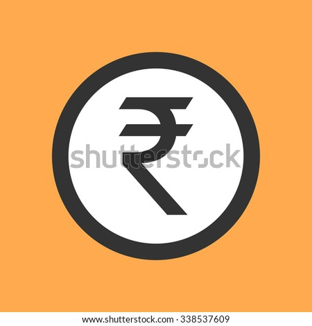 Indian rupee symbol in flat design. - stock vector