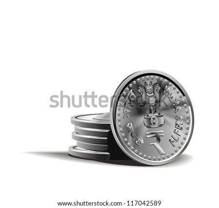 indian rupy coins vector illustration in color, financial theme ; isolated on background.