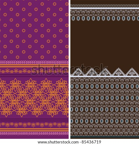 Indian Sari Borders, detailed and easily editable. - stock vector