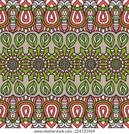 Indian seamless floral pattern. Vintage decorative elements. Hand drawn background. Islam, Arabic, Indian, ottoman motifs.
