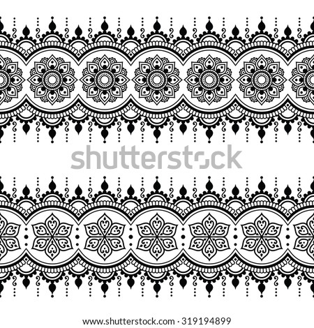Indian seamless pattern, design elements - Mehndi tattoo style - stock vector