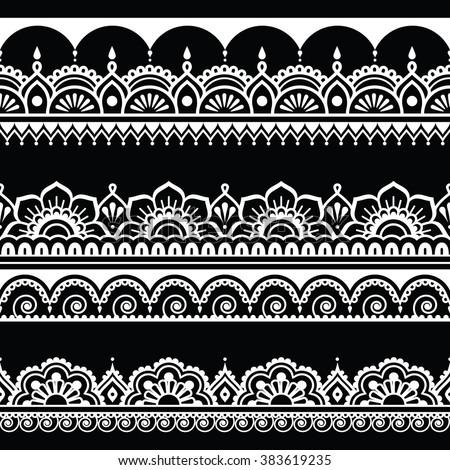Indian seamless pattern, design elements - Mehndi tattoo style - stock vector
