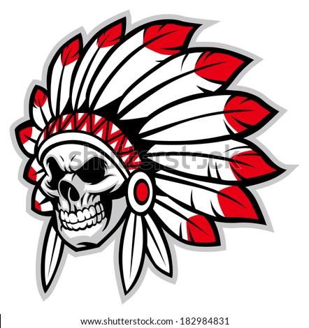 Indian skull chief  - stock vector