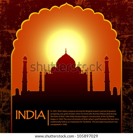 Indian Taj Mahal temple and old arch - stock vector