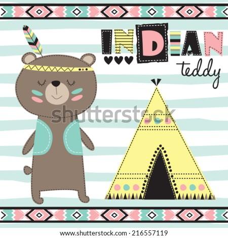 indian teddy bear vector illustration - stock vector