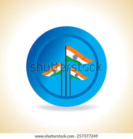 Indian three flags inside of blue circle vector  - stock vector