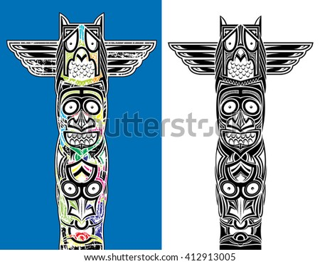 indian totem carved owl and scary faces - stock vector