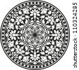 Indian traditional pattern of black and white - flower mandala - stock photo