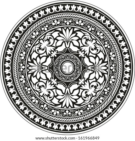 Indian traditional pattern of black and white - flower mandala - stock vector
