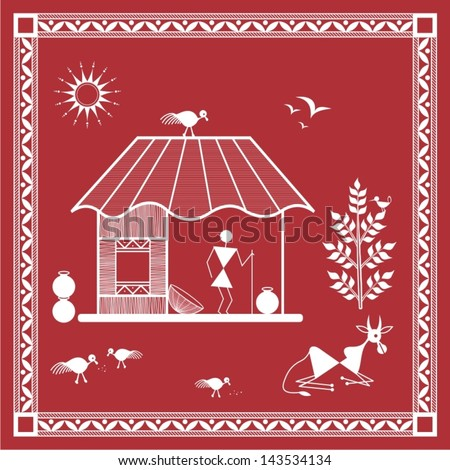 Indian tribal painting warli painting house stock vector royalty indian tribal painting warli painting of a house altavistaventures Image collections