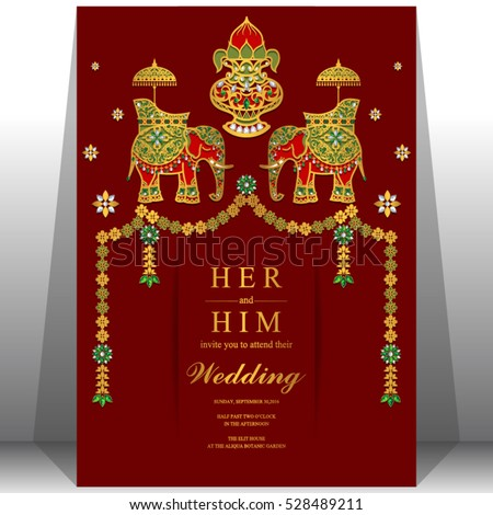 indian wedding card elephant patterned gold and crystals color