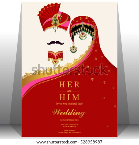 Indian Wedding Card Gold Crystals Color Vector 528958987 – All Indian Wedding Cards