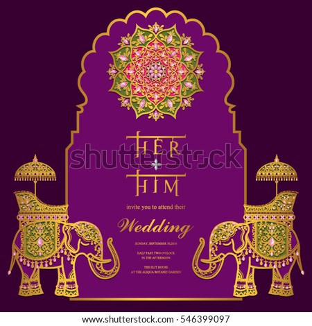 Vetor stock de indian wedding invitation card templates gold livre indian wedding invitation card templates with gold elephant patterned and crystals on paper color stopboris Image collections