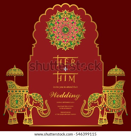 indian wedding invitation card templates gold stock vector 546399181 shutterstock. Black Bedroom Furniture Sets. Home Design Ideas