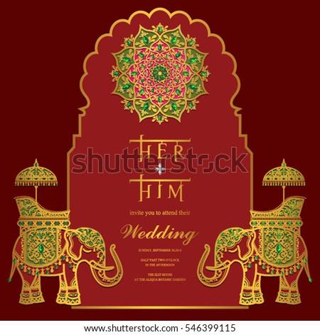 indian wedding invitation card templates gold stock vector 546399181 shutterstock. Black Bedroom Furniture Sets. Home Design Ideas