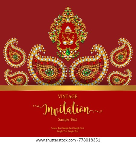 Indian wedding invitation card templates gold stock vector 2018 indian wedding invitation card templates with gold patterned and crystals on paper color stopboris Images