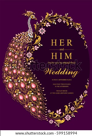 Indian Wedding Invitation Card Templates With Gold Peacock Patterned And  Crystals On Paper Color.