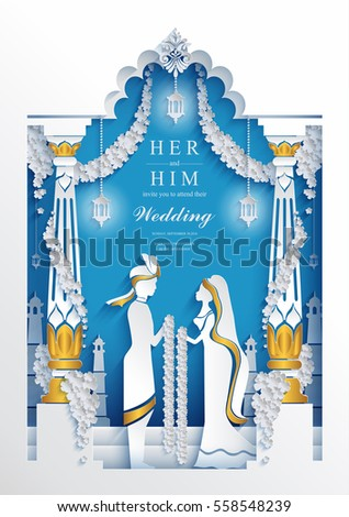 Indian wedding Invitation card templates with Paper art and craft style. on paper color.
