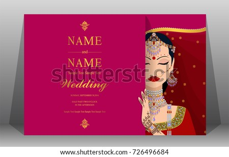 Indian wedding invitation card templates women stock vector indian wedding invitation card templates women stock vector 726496684 shutterstock stopboris Gallery