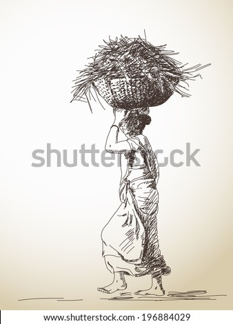 Indian woman carry basket on head, Hand drawn sketch, Vector illustration