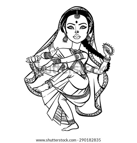 Indian woman dancing. vector illustration isolated background