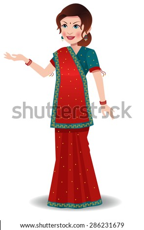 Indian woman wearing a saree wore in state of Gujrat - stock vector
