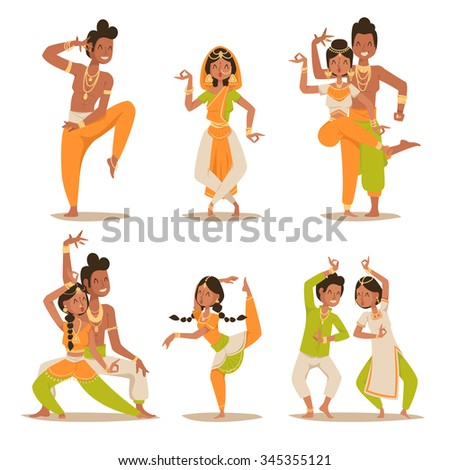 Indian women and man dancing vector isolated. Indian dancers vector silhouette. Indian cartoon dancers different pose icons. Indian people dancing on white background. India, dance, show, party, movie - stock vector