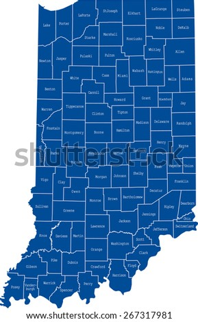 Indiana map - stock vector
