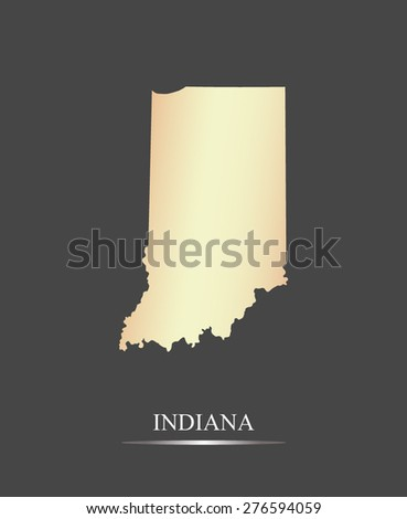 Indiana map outlines in an abstract grey background, a black and white map of State of Indiana in USA - stock vector