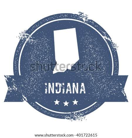 Indiana mark. Travel rubber stamp with the name and map of Indiana, vector illustration. Can be used as insignia, logotype, label, sticker or badge of USA state. - stock vector