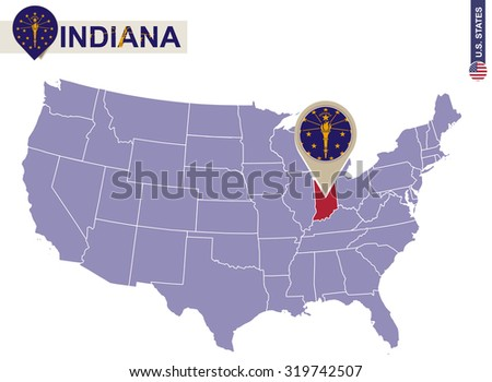 Indiana State On USA Map Indiana Stock Vector 319742507 Shutterstock