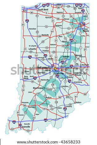 Indiana State Road Map Interstates Us Stock Vector - Us map of interstates
