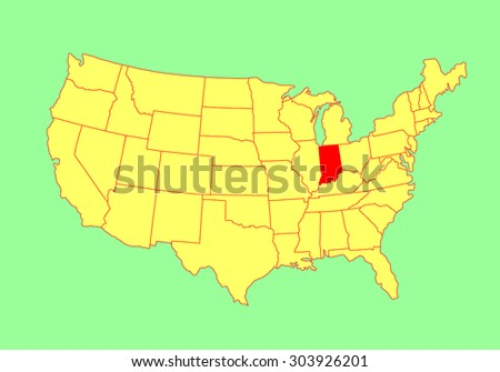 Alabama State Usa Vector Map Isolated Stock Vector - Indiana state usa map