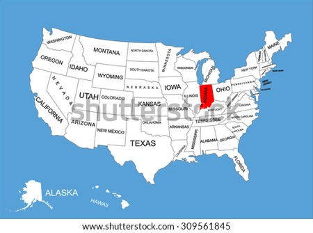 Indiana State, USA, vector map isolated on United states map. Editable blank vector map of USA. - stock vector