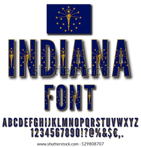 Indiana Usa State Flag Font Shadows Stock Vector 529808707