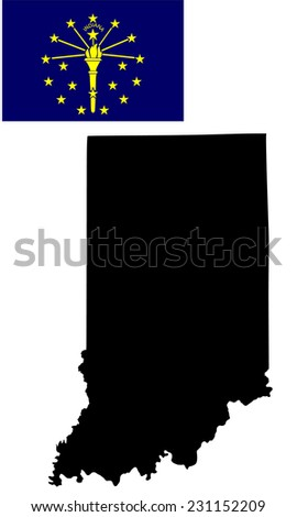 Indiana vector map and flag isolated on white background. High detailed silhouette illustration. Original and simple Indiana state flag isolated vector in official colors and proportion correctly - stock vector