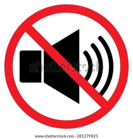 Indicating signal to noise ban. Speaker with probition sign. Silence, mute. Red prohibition sign. Stop symbol