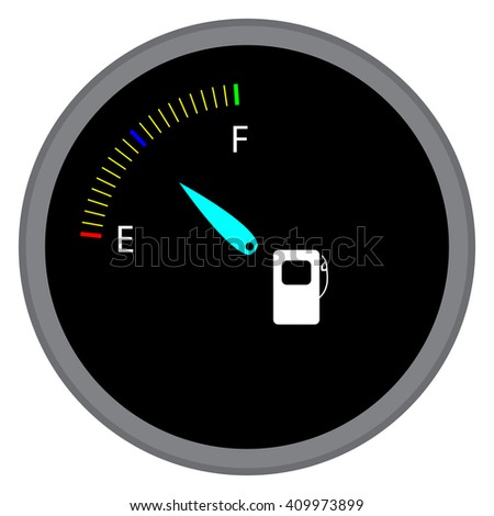 Indicator fuel device. Index and pointer, arrow and car indicator,  measure fuel and power level dashboard. Vector flat design illustration
