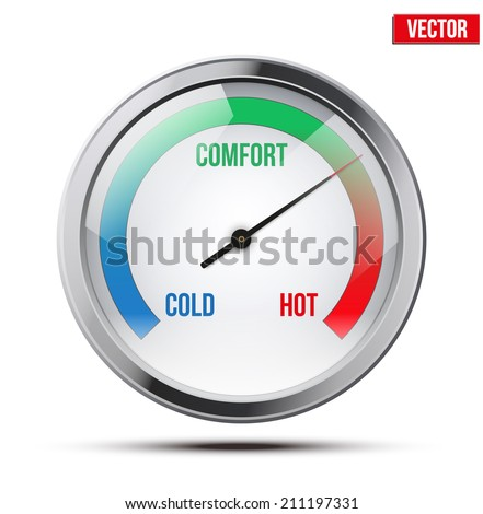 Indicator meter of comfort between cold and hot. Vector Illustration on white background.