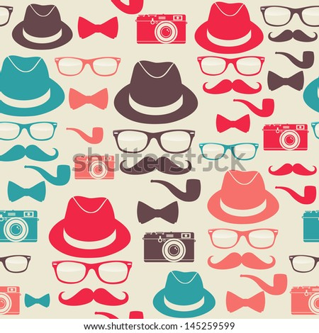 Indie hipster vector seamless pattern set. Vector file layered for easy manipulation and custom coloring. - stock vector