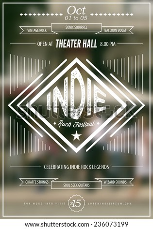 Indie rock music poster template. Text instructions included in hidden layer. Vector blurred city downtown background.  - stock vector