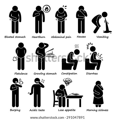 Indigestion Symptoms Problem Stick Figure Pictogram Icons - stock vector