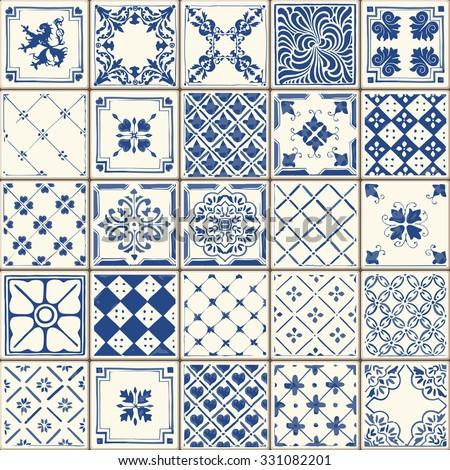 Indigo Blue Flower Azulejos Pattern Lisbon Set Paint Tile Floor Oriental  Spain Collection Seamless Pattern Portugal