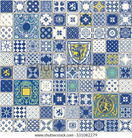 Indigo Blue Tiles Floor Ornament Collection. Gorgeous Seamless Patchwork Pattern Colorful Traditional Painted Tin Glazed Ceramic Tile Vector Vintage Illustration web page template background JPG EPS - stock vector
