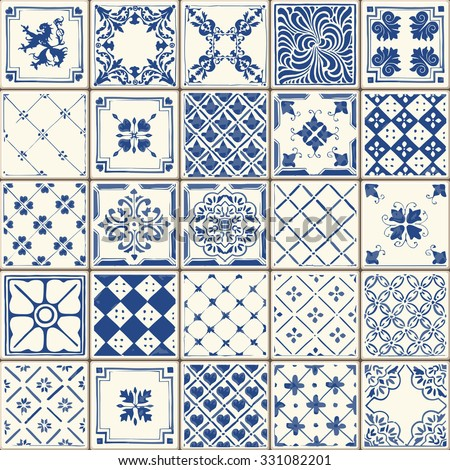 Indigo Blue Tiles Floor Ornament Collection. Gorgeous Seamless Patchwork Pattern from Colorful Traditional Painted Tin Glazed Ceramic Tilework Vintage Illustration. For web page template background - stock vector