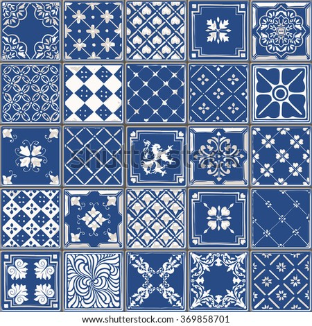 Indigo Blue Tiles Floor Ornament Collection. Gorgeous Seamless Patchwork Pattern from Colorful Traditional Painted Tin Glazed Ceramic Tilework Vintage Illustration Vector template background jpg eps - stock vector