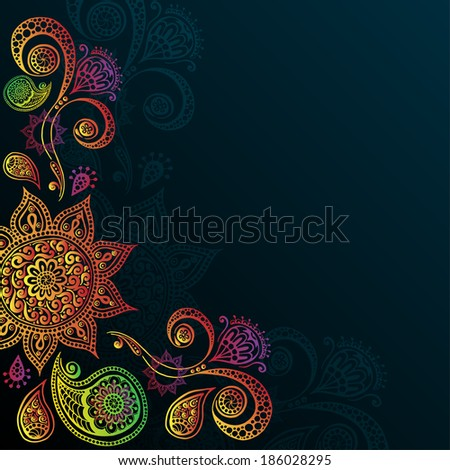 Indigo Vintage background with Indian Ornament. Perfect for invitations or announcements. Series of image Template frame design for card. - stock vector