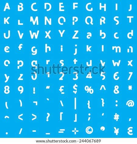 Individual Alphabet Characters of a Custom Font - Elements Bold  - stock vector