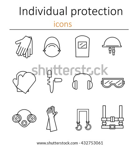Individual protection. Set of icons of personal protective equipment in construction. Protective equipment for eyes, head, ears, hands,  lungs and the body. Body protection and health. Vector.  - stock vector