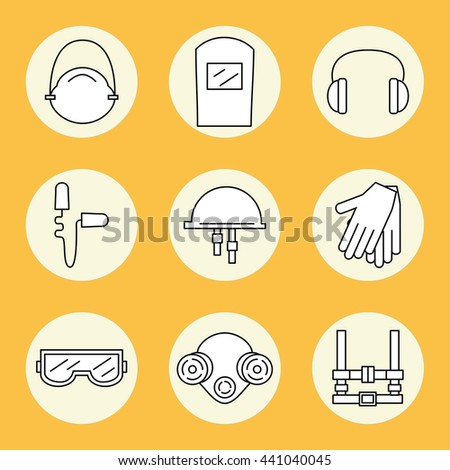 Individual protection. Set of icons of personal protective equipment in construction. Protective equipment for eyes, head, ears, hands,  lungs and the body. Body protection and health. Vector  - stock vector